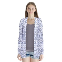 Radial Mandala Ornate Pattern Drape Collar Cardigan