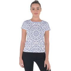 Radial Mandala Ornate Pattern Short Sleeve Sports Top
