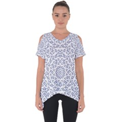 Radial Mandala Ornate Pattern Cut Out Side Drop Tee