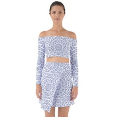 Radial Mandala Ornate Pattern Off Shoulder Top With Skirt Set