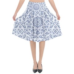 Radial Mandala Ornate Pattern Flared Midi Skirt