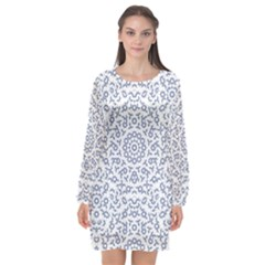 Radial Mandala Ornate Pattern Long Sleeve Chiffon Shift Dress