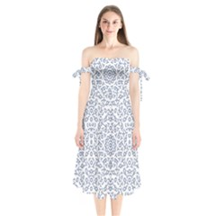 Radial Mandala Ornate Pattern Shoulder Tie Bardot Midi Dress