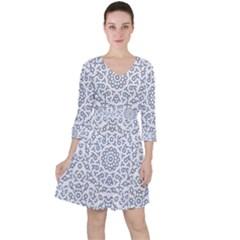 Radial Mandala Ornate Pattern Ruffle Dress