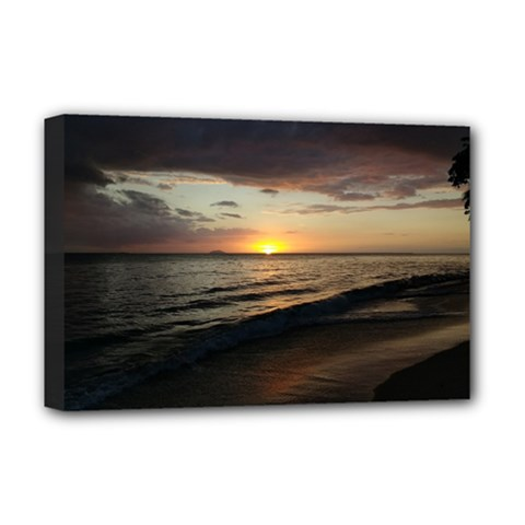 Sunset On Rincon Puerto Rico Deluxe Canvas 18  X 12