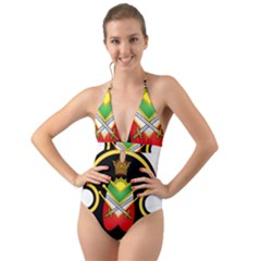 Shield Of The Imperial Iranian Ground Force Halter Cut Out One Piece Swimsuit