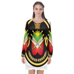Shield Of The Imperial Iranian Ground Force Long Sleeve Chiffon Shift Dress