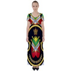 Shield Of The Imperial Iranian Ground Force High Waist Short Sleeve Maxi Dress