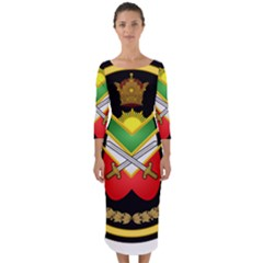 Shield Of The Imperial Iranian Ground Force Quarter Sleeve Midi Bodycon Dress