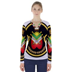 Shield Of The Imperial Iranian Ground Force V Neck Long Sleeve Top