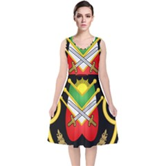 Shield Of The Imperial Iranian Ground Force V Neck Midi Sleeveless Dress