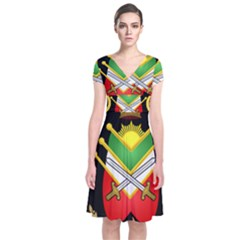 Shield Of The Imperial Iranian Ground Force Short Sleeve Front Wrap Dress