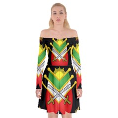 Shield Of The Imperial Iranian Ground Force Off Shoulder Skater Dress