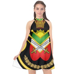 Shield Of The Imperial Iranian Ground Force Halter Neckline Chiffon Dress