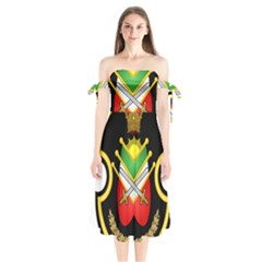 Shield Of The Imperial Iranian Ground Force Shoulder Tie Bardot Midi Dress