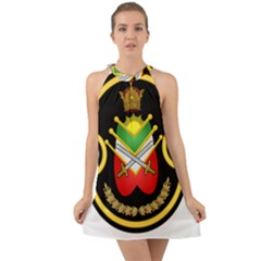 Shield Of The Imperial Iranian Ground Force Halter Tie Back Chiffon Dress