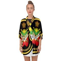 Shield Of The Imperial Iranian Ground Force Half Sleeve Chiffon Kimono