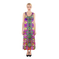 Flower Wall With Wonderful Colors And Bloom Sleeveless Maxi Dress