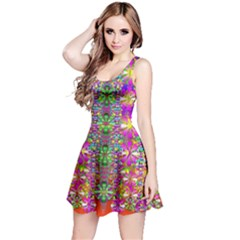 Flower Wall With Wonderful Colors And Bloom Reversible Sleeveless Dress