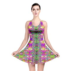 Flower Wall With Wonderful Colors And Bloom Reversible Skater Dress