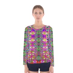 Flower Wall With Wonderful Colors And Bloom Women s Long Sleeve Tee