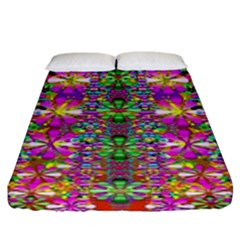 Flower Wall With Wonderful Colors And Bloom Fitted Sheet (king Size)