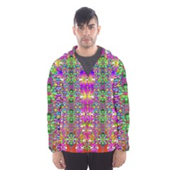 Flower Wall With Wonderful Colors And Bloom Hooded Wind Breaker (men)