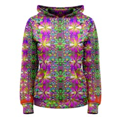 Flower Wall With Wonderful Colors And Bloom Women s Pullover Hoodie