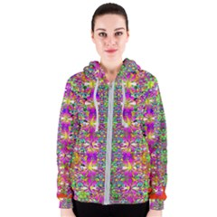 Flower Wall With Wonderful Colors And Bloom Women s Zipper Hoodie