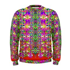 Flower Wall With Wonderful Colors And Bloom Men s Sweatshirt