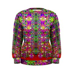 Flower Wall With Wonderful Colors And Bloom Women s Sweatshirt