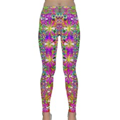 Flower Wall With Wonderful Colors And Bloom Classic Yoga Leggings