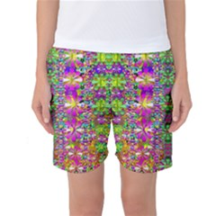 Flower Wall With Wonderful Colors And Bloom Women s Basketball Shorts