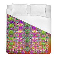 Flower Wall With Wonderful Colors And Bloom Duvet Cover (full/ Double Size)