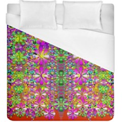 Flower Wall With Wonderful Colors And Bloom Duvet Cover (king Size)