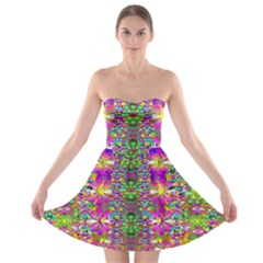 Flower Wall With Wonderful Colors And Bloom Strapless Bra Top Dress