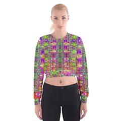 Flower Wall With Wonderful Colors And Bloom Cropped Sweatshirt