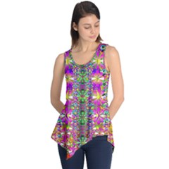 Flower Wall With Wonderful Colors And Bloom Sleeveless Tunic