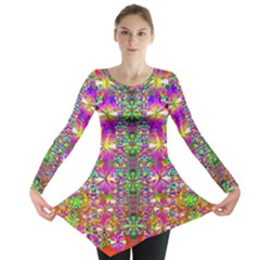 Flower Wall With Wonderful Colors And Bloom Long Sleeve Tunic