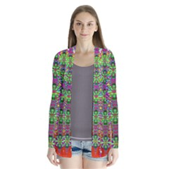 Flower Wall With Wonderful Colors And Bloom Drape Collar Cardigan