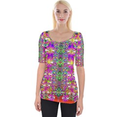 Flower Wall With Wonderful Colors And Bloom Wide Neckline Tee