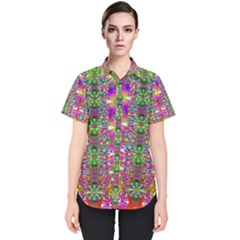 Flower Wall With Wonderful Colors And Bloom Women s Short Sleeve Shirt