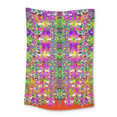Flower Wall With Wonderful Colors And Bloom Small Tapestry