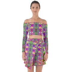 Flower Wall With Wonderful Colors And Bloom Off Shoulder Top With Skirt Set