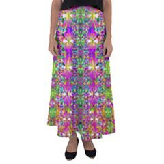 Flower Wall With Wonderful Colors And Bloom Flared Maxi Skirt