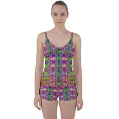 Flower Wall With Wonderful Colors And Bloom Tie Front Two Piece Tankini