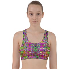 Flower Wall With Wonderful Colors And Bloom Back Weave Sports Bra
