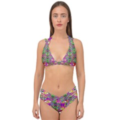 Flower Wall With Wonderful Colors And Bloom Double Strap Halter Bikini Set