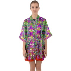 Flower Wall With Wonderful Colors And Bloom Quarter Sleeve Kimono Robe