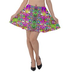 Flower Wall With Wonderful Colors And Bloom Velvet Skater Skirt